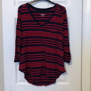 Target navy and red long sleeve top size medium